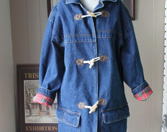 80s Denim Duffle Coat Toggle Buttons Oversized Denim Jacket  Red Plaid Royal Stewart Cotton Flannel Lining / Medium