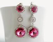 Rose Pink Earrings, Swarovski Bridal Earrings, Round Crystal, Cubic Zirconia, Halo Earrings, Pink Wedding Earrings, Bridal Jewelry.