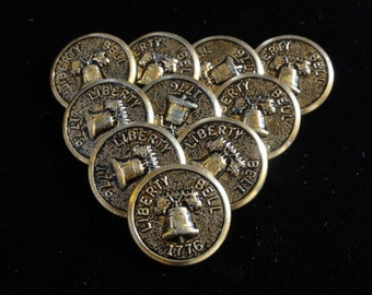 Vintage Buttons Liberty Bell 1776 Gold Lot of 10 Metal Buttons -Philadelphia Independence Hall Bicentennial - Multiple Lots Available