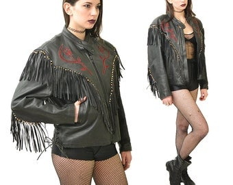 Deflowered Leather Fringe Rose Print Biker Jacket // ML