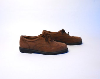 Brown Suede Oxford Wingtip Loafers by Claybrooke // Size 11.5 Medium // EXCELLENT Condition