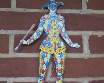 Vintage Commedia dell'arte Paper Harlequin Decorative Pull Toy