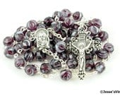 Traditional Rosary Catholic Czech Glass Faceted Amethyst White Swirl Bead Silver Rosary