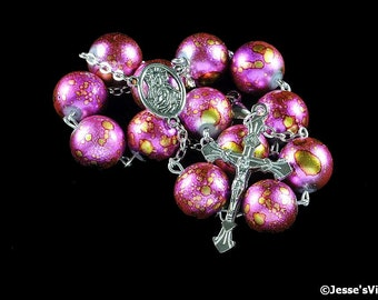 Auto Rosary Pocket Hot Pink Metallic Chunky Glass Bead 1 Decade Silver