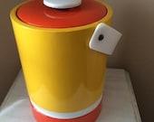 SALE! Vinyl Ice Bucket Cooler Orange Yellow White 60s