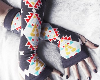 Smoke Signals Arm Warmers | Grey White Red Mustard Yellow Turquoise Blue Aztec Cotton | Yoga Gothic Belly Dance Tribal Cycling Boho Charcoal