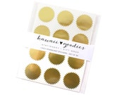 36 Gold Foil Starburst Seals - 1 inch round gold starburst stickers - FREE SHIPPING