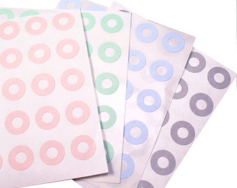 SALE - 156 PASTEL COLORED Hole Reinforcement ring stickers for Hang Tags or Parcel Labels - gift wrapping, wedding, scrapbooking
