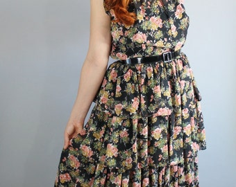 Summer Dress, 50s Dress, Floral Dress, 1950s, Ruffles, Sleeveless , Midi, Roses, Cocktail Party, Wedding Guest, Size Medium, Free Shipping