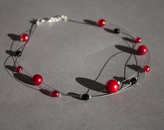 Red and black illusion necklace, red glass pearl multi strand necklace