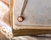 Filigree Flower Necklace,  Rose Flower, Cantaloupe Light Peach Cabochon, Little Girls Necklace, Princess Choker Necklace