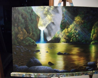 Waterfall With Pond, Punchbowl Falls, River, Pacific Northwest, Columbia River, Oregon, Fall, Autumn Original Landscape Oil Painting