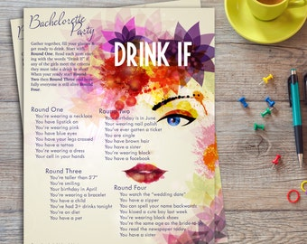 Drink If | Bachelorette Party Game | 4 rounds | Printable | Instant download