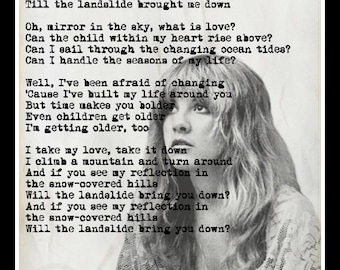Landslide Lyrics Stevie Nicks Fleetwood Mac Art Print Poster