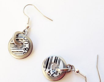 Metal Bar Code Earrings, Upcycled Hardware, Recycled Drinks Can, Surgical Steel Ear-wire, Hypo-allergenic