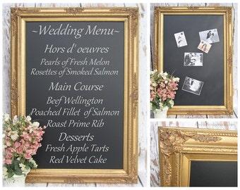 "CHALKBOARD WEDDING Gold WEDDING Ideas Large Gold Chalkboard Decor 44""x32"" Huge Magnetic Chalk board Wedding Blackboard Signs Gold Menu Board"