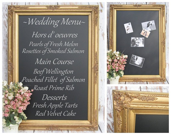 "CHALKBOARD WEDDING Gold WEDDING Ideas Large Gold Chalkboard Decor 44""x32"" Huge Magnetic Chalk board Wedding Blackboard Signs Gold Menu Board"