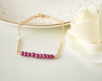 Ruby Gemstone Bar Bracelet - Layering