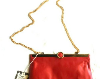 Dainty vintage red Mar-Crest genuine top grain leather chain clutch/purse