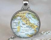 Italy vintage map pendant, Italy pendant, Italy necklace, Italy map pendant, Corsica map, Italy keychain, Italy key chain map jewelry