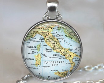 Italy vintage map pendant, Italy pendant Italy necklace Italy map pendant Corsica map jewelry key chain keychain key ring key fob travel