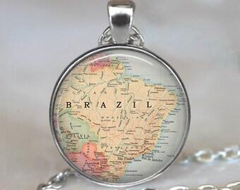 Brazil map pendant, Brazil pendant, Brazil map jewelry, Brazil necklace, Brazil keychain key chain, map jewelry map jewellery key fob