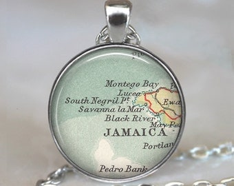 Montego Bay pendant, Negril Jamaica map pendant, Montego Bay map necklace, Jamaica map necklace, Jamaica keychain key chain