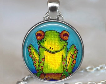 Funny Frog pendant, frog jewelry, frog necklace, tree frog pendant, green frog jewelry, frog jewellery frog keychain