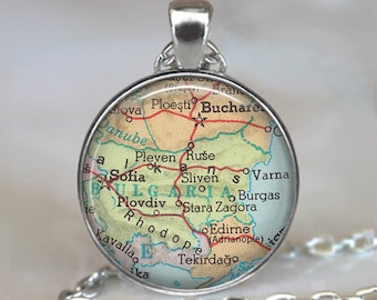 Bulgaria map pendant, Bulgaria map necklace, Bulgaria pendant Bulgaria necklace, Bulgaria keychain key chain key fob