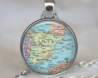 Spain map necklace, Spain map pendant Spain pendant Spain necklace map jewelry map jewellery Spain keychain key chain key fob