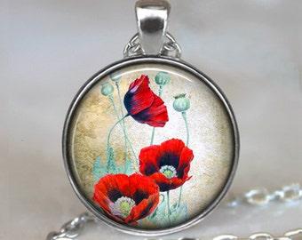 Oriental Poppies pendant, red poppy necklace, remembrance necklace, poppy pendant, poppy keychain poppy key chain key fob