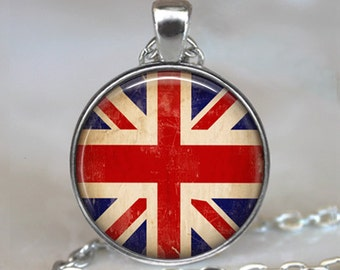 Union Jack pendant, Union Jack necklace, Union Jack jewelry, British flag pendant, Great Britain necklace keychain key chain key fob