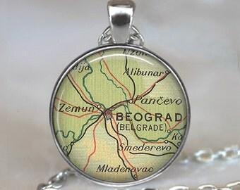 Belgrade map pendant, Belgrade necklace, Belgrade jewelry, Beograd pendant, Serbia map jewelry map jewellery keychain key chain