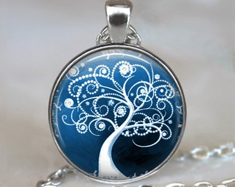 Snow Flurry pendant, tree necklace, tree jewelry, tree jewellery, tree pendant, snow pendant winter jewelry keychain