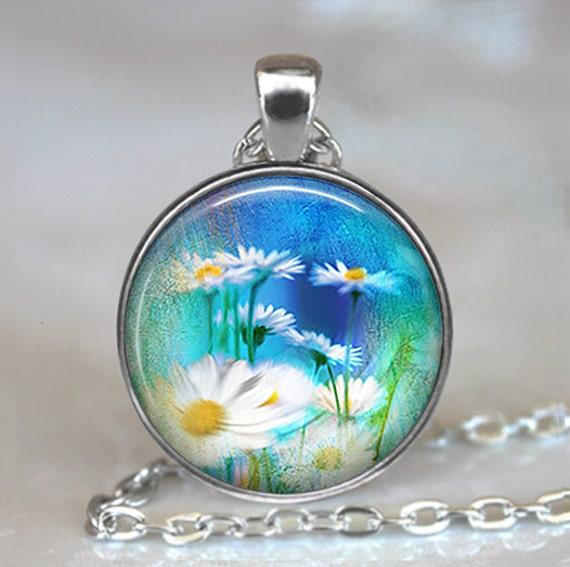 Daisy Fields art pendant, daisy necklace, daisy jewelry, flower jewelry, wildflower pendant, summer jewelry keychain key chain key fob