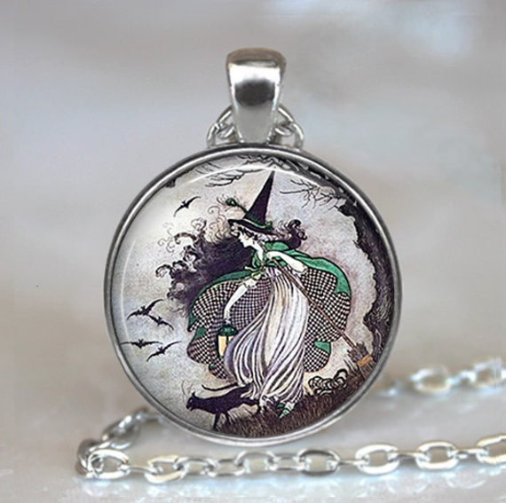 Fairytale Witch pendant, witch necklace, resin pendant,  witch jewelry, Halloween jewelry, witch jewellery, witch keychain key chain
