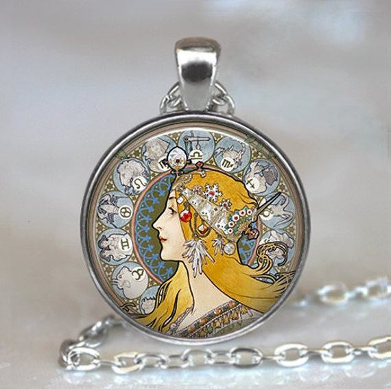 Art Nouveau Zodiac pendant, Zodiac jewelry Mucha art La Plume pendant, astrology necklace, astrologer's pendant keychain key chain