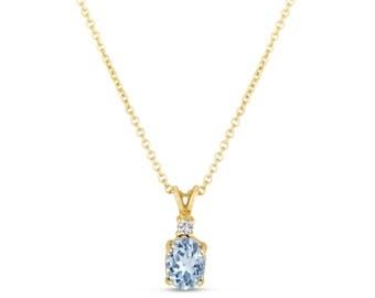 Oval Aquamarine & Diamond Solitaire Pendant Necklace 14K Yellow Gold 1.27 Carat HandMade