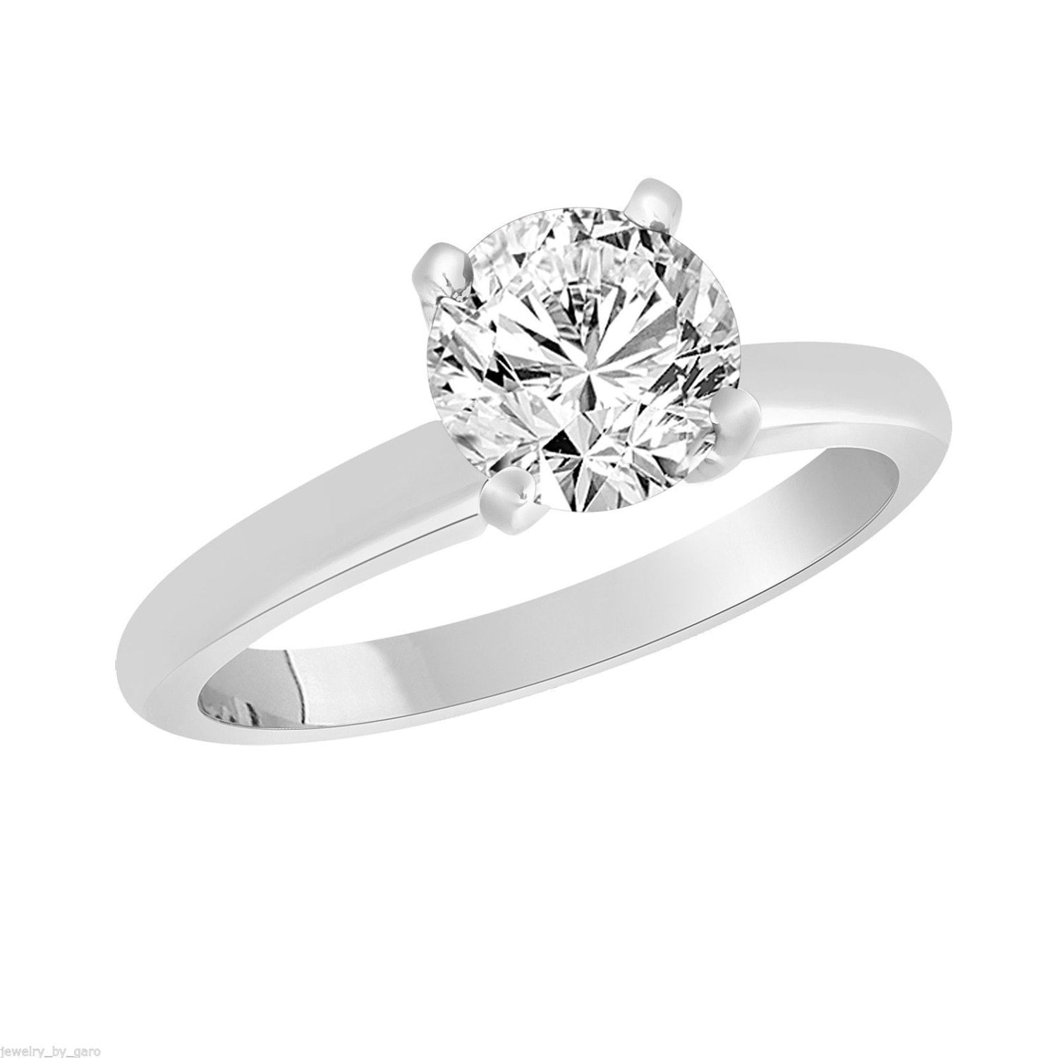 Solitaire Diamond Engagement Ring 1 01 Carat 14K White Gold