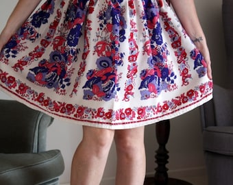 Retro pink, blue and red printed high waisted skirt
