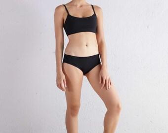 Bra Top - Yoga Bra Top - Sports Bra - Athletic Wear - Running Bra - Black Bra Top