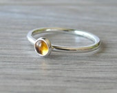 Honey Gold Mustard Yellow citrine ring sterling silver ring stack ring stone ring