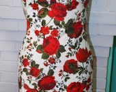 Pinup Red Rose Wiggle Dress- 1960s Marilyn Style Custom Made to Order
