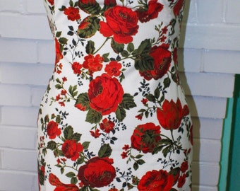 Pinup Red Rose Wiggle Dress- Somethings Got To Give-Custom Made to Order