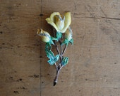 Vintage yellow rose enamel and marcasite brooch