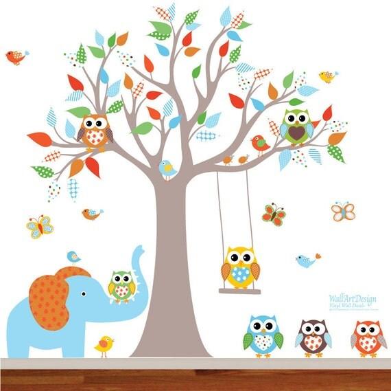 Vinyl Wall Decal  Nursery Wall Decal, Boys Decals, Owls, Swing, Nursery Wall Decal, Kids Wall Decal, Owl Tree Decal