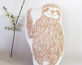 Shaped Sloth Pillow. Hand Woodblock Printed. LARGE 18 inches. Pick your colors. Made to Order.