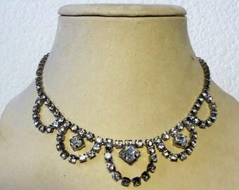 Vintage Art Deco  Rhinestone Necklace - Something Old