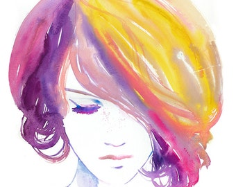 Fashion Watercolor Print,  Fashion Illustration, Fashion Art. Fashion Print, Pink & Yellow Hair