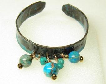 Verdigris Copper Bracelet, Artisan Hand Hammered Cuff Bracelet Turquoise Beads, OOAK Steampunk Jewelry, BOHO Copper Jewelry